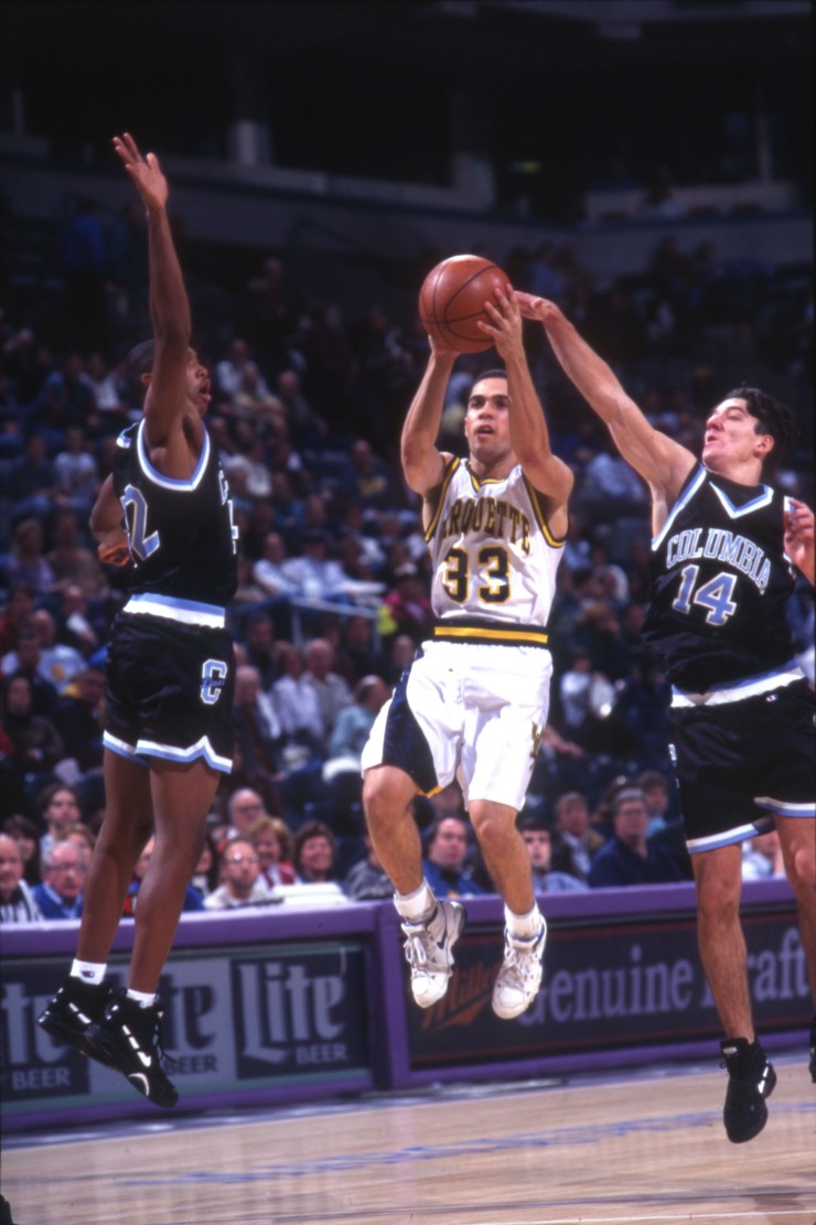 Mark Harris taking a shot, 1995-1996.