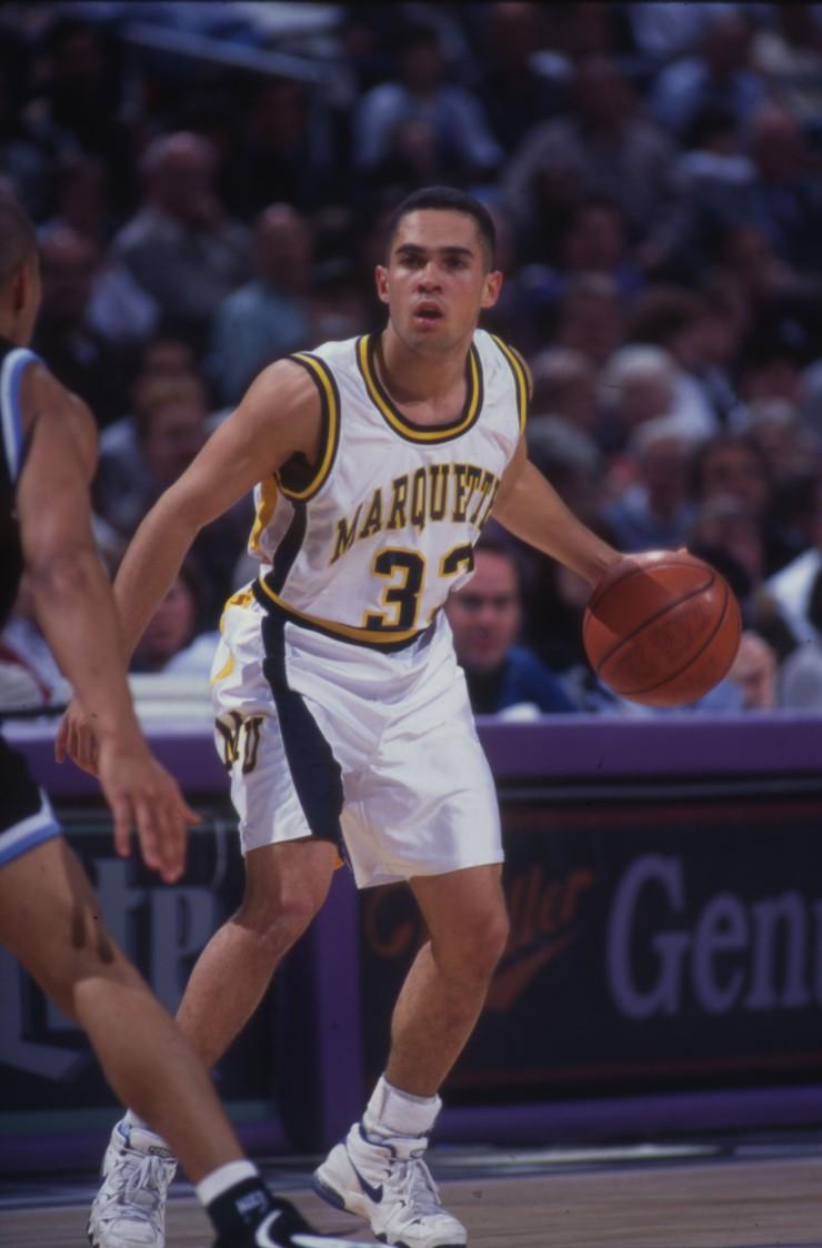 Mark Harris dribbling basketball, 1995-1996